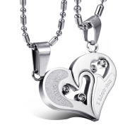 "JewelryWe 316L Stainless Steel ""I Love You"" Silver Tone Matching Hearts Lovers Couple Cz Pendant Necklace Set"