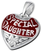 """Genuine 925 Sterling Silver """"Special Daughter"""" Love Heart Pendant with Enamel - FREE GIFT BOX"""
