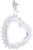 Genuine 925 Sterling Silver Heart Pendant with Crystal Stones - FREE GIFT BOX