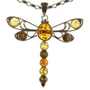 Baltic amber and sterling silver 925 designer multi-coloured dragonfly pendant jewellery jewellery