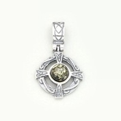 GREEN BALTIC AMBER & STERLING SILVER CELTIC DESIGN PENDANT