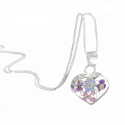 Sterling Silver Real Mixed Flower Heart Pendant Jewellery with chain & giftbox