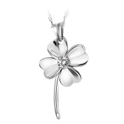 Chaomingzhen Sterling Silver Cubic Zirconia Heart Shaped Four Leaf Clover Pendant Necklace for Women 46cm