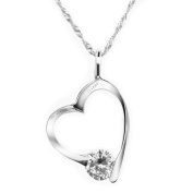 "Chaomingzhen Cubic Ziconia Sterling Silver ""My Sister My Friend"" Open Heart Pendant Necklace for Women Chain 46cm"