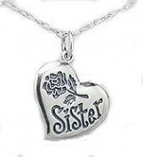 SISTER Pendant - Lovely Sister Necklace Sterling Silver with Rose - Chain Included