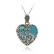 Sterling Silver Marcasite & Turquoise Heart Pendant