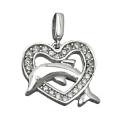 Jewellery necklace pendant heart with dolphin with zirconia 14x15mm from Silver 925