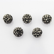 DUMAN 20pcs 10mm Shamballa Inspired Crystal Ball Beads, Black