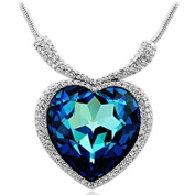 Chaomingzhen Blue Large Heart of the Ocean Pendant Necklace From Titanic Necklace for Women crystal Alloy 46cm