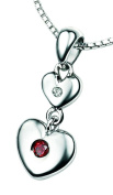 D for Diamond Sterling Silver P2950 Girls Garnet and Diamond Set Double Heart Pendant - January Birthstone