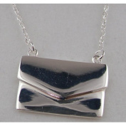 Luxury Elegant Ladies Sterling Silver Unusual Solid Envelope Handbag Pendant & 41cm Sterling Silver Chain Necklace - Ideal for Christmas, Birthday, Anniversary or Mothers Day Gift