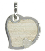 Rutilated Obsidian and Quartz Heart Sterling Silver Pendant + Chain