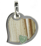 Rutilated Obsidian and Green Aventurine Heart Sterling Silver Pendant + Chain