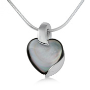 Miore Sterling Silver Ladies Mother Of Pearl Heart Shaped Pendant on 46cm Snake Chain MSM074P