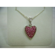 Created Corundum Ruby, Studded Heart Pendant, 46cm chain, Sterling Silver