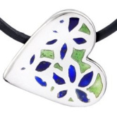 Perfectcharm Blue And Green Enamel Pure Silver Heart Pendant - Pure Silver