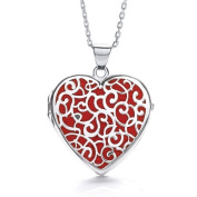 J-JAZ Heart Shape Red Background Fancy Locket Suplied with Adjustable 41cm /46cm Chain