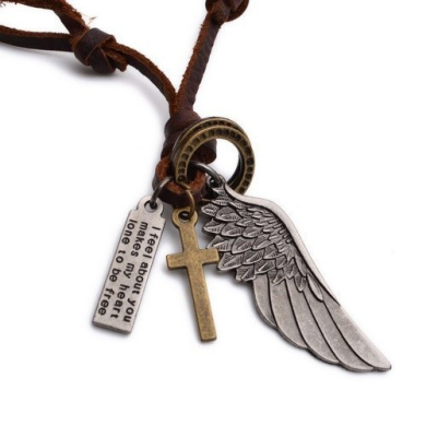 K Mega Jewellery Vintage Silver Gold Cross & Wing Mens Pendant Leather Chain Necklace P623