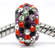 1x Multi Spotted CZ Rhinestone 925 Silver Core Charm Bead for Charm Bracelets
