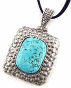 Jewellery Of The Planet Large Turquoise Pendant In Ornate Pebble Setting