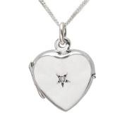 0.01 Carat I3 Diamond Locket Necklace in Sterling Silver