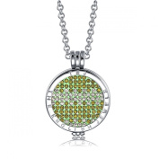 Interchangeable Coin Pendant Necklace Silver Plated including Belcher Chain '25-80cm - Green & White