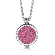 Interchangeable Coin Pendant Necklace Silver Plated including Belcher Chain '25-80cm - Pink