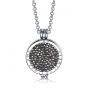 Interchangeable Coin Pendant Necklace Silver Plated including Belcher Chain '25-80cm - Black Hematite
