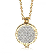 Interchangeable Coin Pendant Necklace Gold Plated including Belcher Chain '25-80cm - White