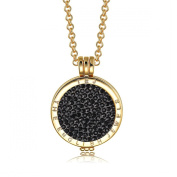 Interchangeable Coin Pendant Necklace Gold Plated including Belcher Chain '25-80cm - Black