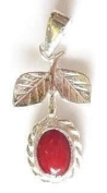 StonesandSilver, sterling silver, Flower and Leaves Red Coral Pendant.