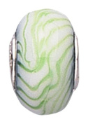 Jo For Girls Murano Glass White Green Zig Zag Bead With Silver Core