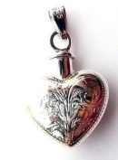 StonesandSilver,sterling silver, large, engraved ashes/perfume/hair locket