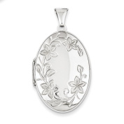 Sterling Silver Floral Oval Locket - JewelryWeb