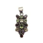 Exquisite 925 Sterling Silver Pendant Laid with Multi Gemstone