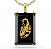 Gold Plated Scorpion Jewellery - Onyx Necklace Inscribed in 24ct Gold - Tribal Pendant for Men - Cool Gift Ideas