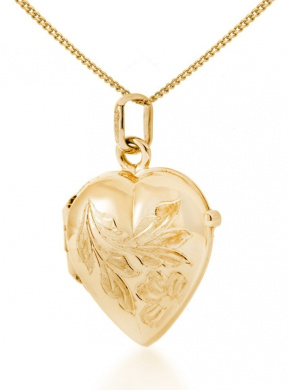 9ct Yellow Gold Heart Flower Locket Pendant on Curb Chain Necklace 46cm/18""