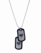 BB Designs Europe Superman Chrome & Chrome Dog Tag, 2 Tags, 64cm Chain
