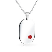 Bling Jewellery Stainless Steel Medical ID Dog Tag Pendant 50cm Chain
