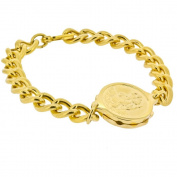 Talisman Gold Plated Sos Talisman Bracelet - Gents St. Christopher-21.5cm-Gold
