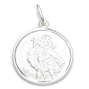17mm Saint Christopher sterling silver pendant only .925 x 1 Travelling IDBU0470