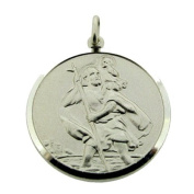 0.925 Sterling Silver Round 27mm St Christopher Pendant In Presentation Gift Box
