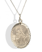 Solid Silver Oval Diamond Cut St.Christopher Pendant & Chain.