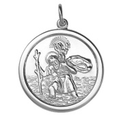 Silver 24mm round St Christopher