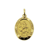 9ct Solid Yellow Gold Oval Satin 17mm x 12mm St Christopher Pendant In Presentation Gift Box