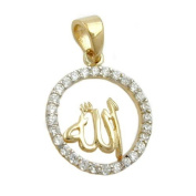 Jewellery pendant Anänger characters Allah with zirconia from 375 yellow gold