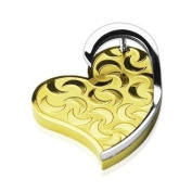 """Stainless Steel PVD Gold """"3D"""" Moon Engraved Heart Pendant"""