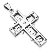 Stainless Steel Two Spinning Swirl Concept Cross Pendant