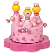 Round Pink Princess Music Box - with three wooden princess on top