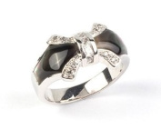 Sterling Silver Black Mother of Pearl And Clear Cubic Zirconia Bow Ring